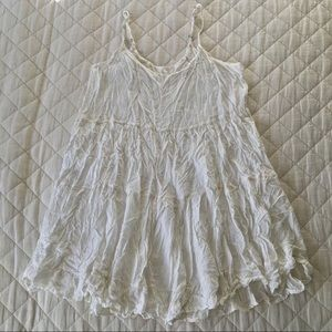 Italian White Babydoll/Prairie Mini Dress/Tunic
